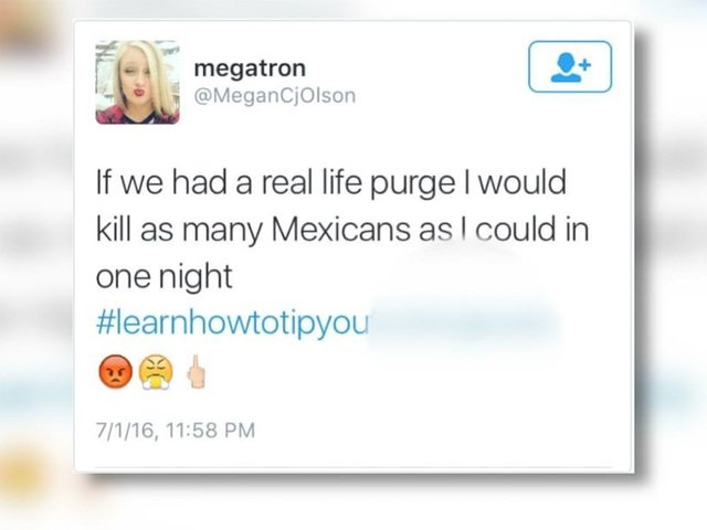 """Untipped Waitress Tweets About """"Killing Mexicans""""; Fired"""